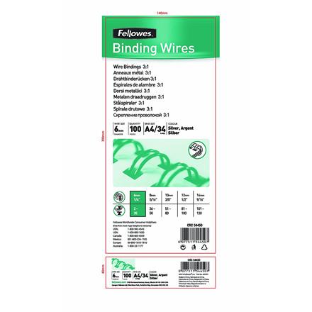 Indbindingswire - Fellowes A4 3:1 wire sølv 6 mm til 35 ark  - 100 stk