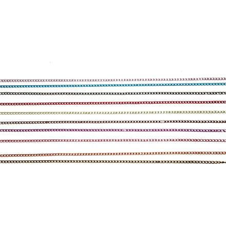Kæde, 3 mm, metallic farver, 10x2 m
