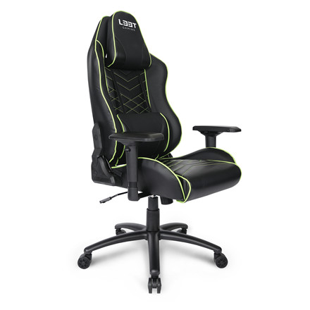 Gamer stol E-sport L33T PU Gaming Pro Level - grøn sort