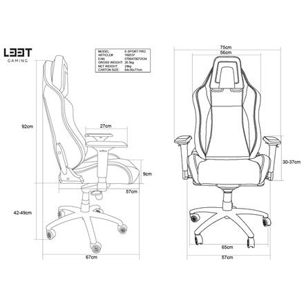 Gamer stol E-sport L33T PU Gaming Pro Level - sort