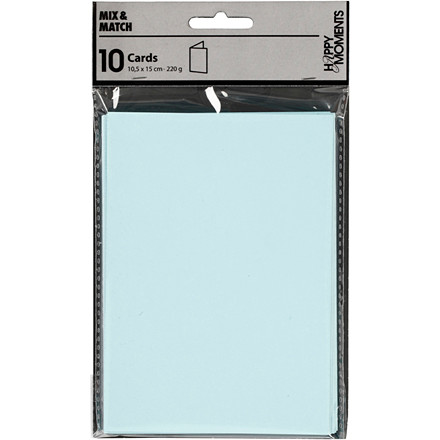 Kort, lys blå, str. 10,5x15 cm, 220 g, 10stk.