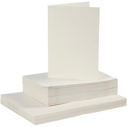 Kort og kuverter, kort str. 10,5x15 cm, kuvert str. 11,5x16,5 cm, råhvid, 50sæt