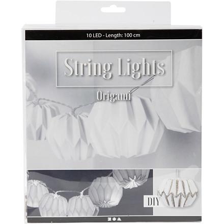 LED lyskæde med lampeskærme hvid rund Længde 100 cm diameter 75 mm | Højde 55 mm