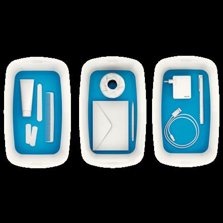 Opbevaringsboks med låg Leitz MyBox Small 31,8 x 12,8 x 19,1 cm - hvid/blå