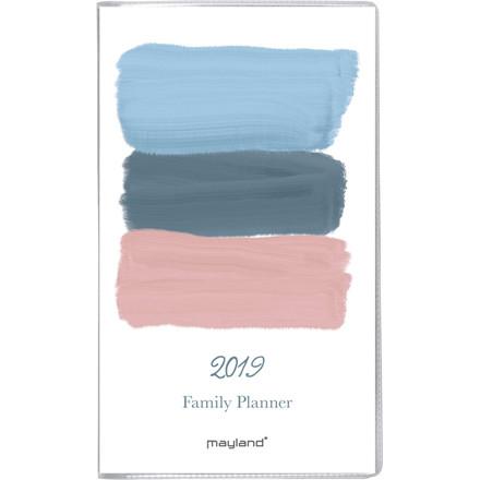 Månedskalender Mayland Family 2019 PP med telefon register og illustrationer 9 x 16,6 cm - 19 0910 00