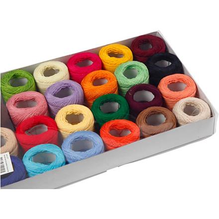 Merceriseret bomuldsgarn assorteret farver | 24 x 20 gram
