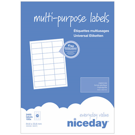 Multilabels - niceday A4 4064382 24 pr. ark 64,6 x 33,8mm - 100 ark