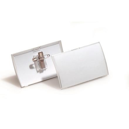 Navneskilt CLICK FOLD m/nål og klemme 54x90mm