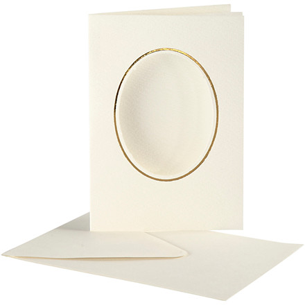 Passepartoutkort med kuvert oval m. guld kant off-white - 10 sæt