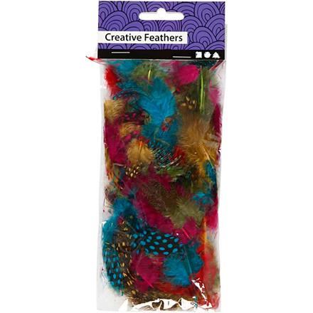 Perlehønsefjer assorteret farver 3 gram - cirka 100 stk.