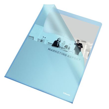 Plastomslag A4 - Esselte 115 my transparent blå med præg - 100 stk i æske