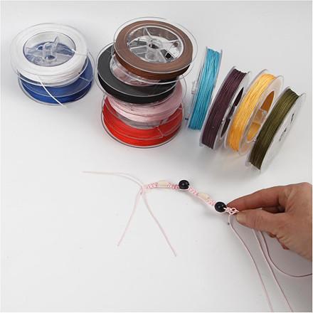 Polyester snor sortiment tykkelse 1 mm assorteret farver | 10 x 50 meter