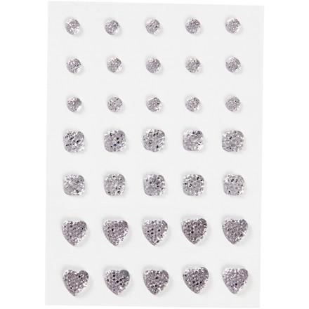 Rhinsten størrelse 6+8+10 mm sølv rund firkant hjerte | 35 stk.