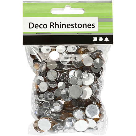 Rhinsten sølv harmoni størrelse 6 + 9 + 12 mm runde - 360 stk.