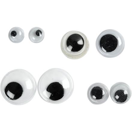 Rulleøjne diameter 4+6+8+10 mm uden klæb - 40 assorteret