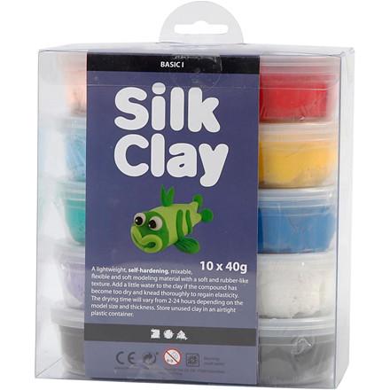 Silk Clay® assorteret farver Basic 1 | 10 x 40 gram