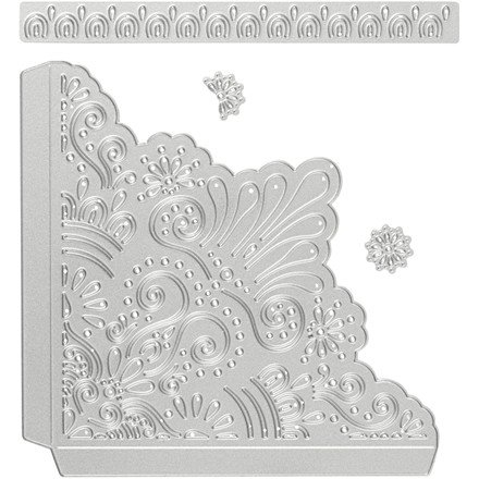 Skære- og prægeskabelon, str. 14x14 cm, str. 14,5x1,5 cm, dekorative hjørner, 1stk.