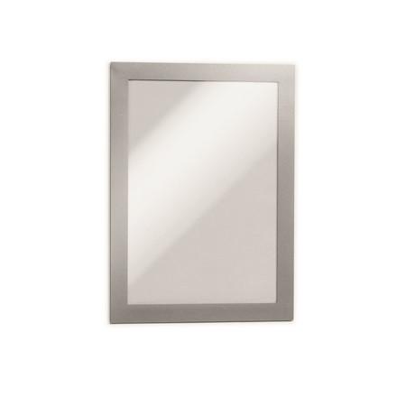 Skilt - selvklæbende A5 DURAFRAME®  med sølvramme 2 stk.