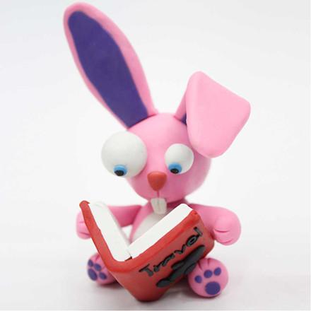 Soft Clay Modellervoks størrelse 13 x 6 x 4 cm neon pink - 500 gram