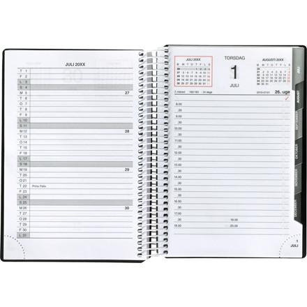 Spiralkalender Mayland 2019 hård PP sort 12 x 17 cm 1 dag/side - 19 2100 00