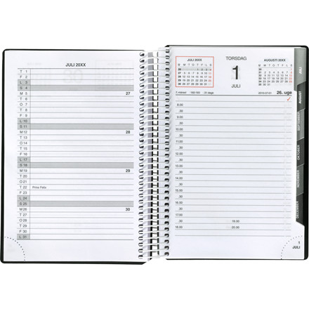 Spiralkalender sort PP 12x17cm 1 dag/side 20 2100 00