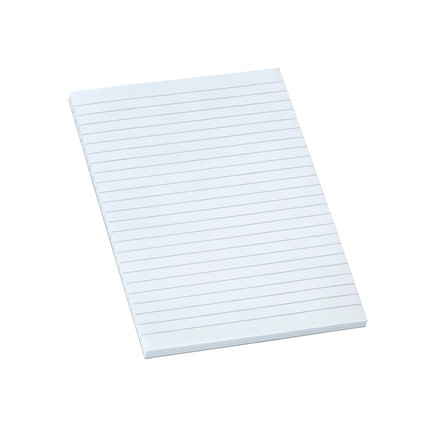 Standardblok A5 hvid linieret toplimet 60g u/huller