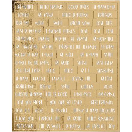 Guld stickers engelske ord med hvid skrift - 4 ark
