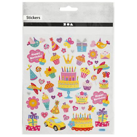 Stickers fødselsdag transparent plastfolie med detaljer i glitter | 1 ark á 49 stk.