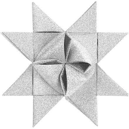 Stjernestrimler Vivi Gade hvid glitter lak B: 15 + 25 mm diameter 6,5 + 11,5 cm L: 44 + 86 cm - 40 stk.