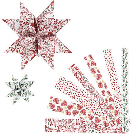 Stjernestrimler Vivi Gade hvid rød metalfolie B: 15 + 25 mm diameter 6,5 + 11,5 cm L: 44 + 86 cm - 48 stk