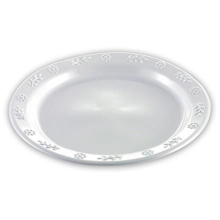 Tallerken flad rund plast hvid Ø23cm 50stk/pak