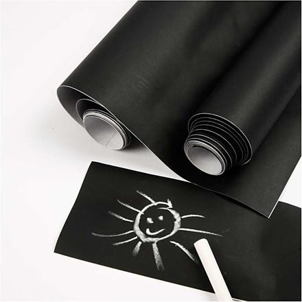 Tavlefolie til kridttavle, B: 45 cm, sort, 2m