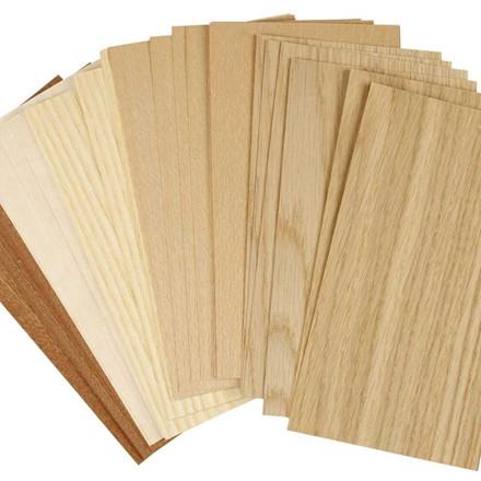 Træfinér, ark 22x12 cm, tykkelse 0,5-0,7 mm, bøg, eg, mahogni, , 30ass. ark