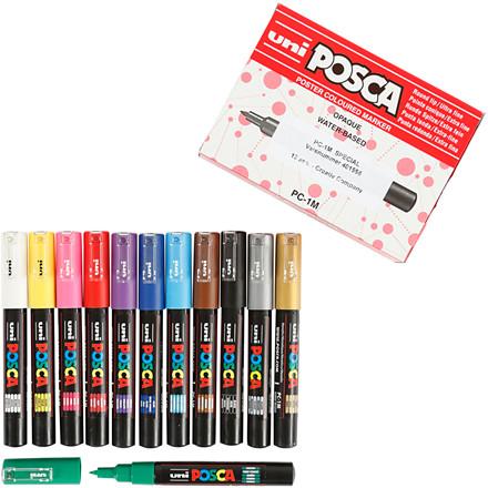 POSCA tuscher pakke med 12 tuscher - 0,7 mm i forskellige farver