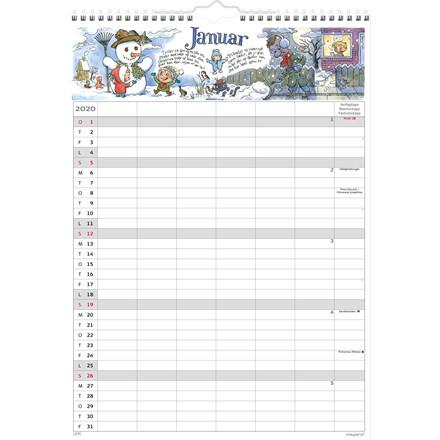 Vægkalender Familiens A3 6 kolonner 30x42cm 20 0662 50