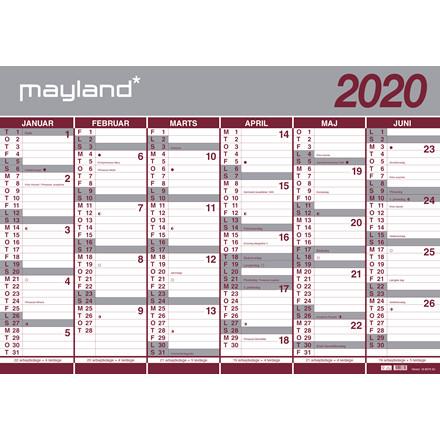 Vægkalender 19/20 kæmpe 100x70cm 2x6mdr. i rør 20 8075 00