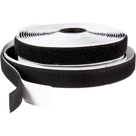 Velcrobånd selvklæbende sort - bredde: 2 cm længde: 5 m