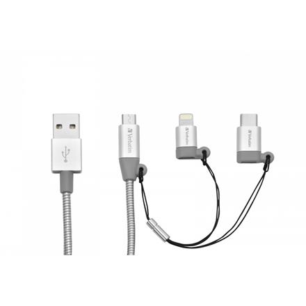 Verbatim 3-In-1 USB-C™ / Lightning / Micro B Stainless Steel Sync & C