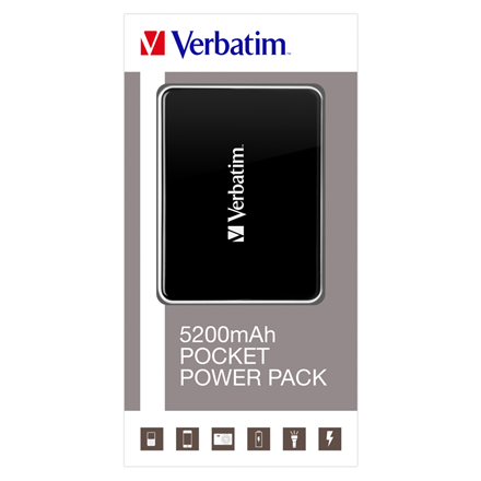 Verbatim Pocket Power Pack 5200Mah, Incl. Led Indicator And Flash Lig