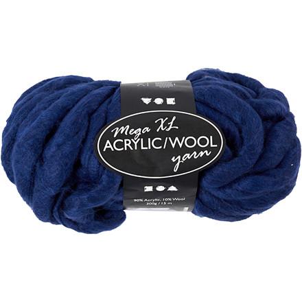 XL kæmpegarn af akryl/uld længde 15 meter mørk blå mega - 300 gram