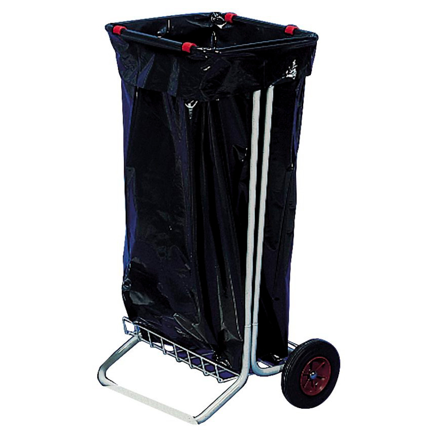 Affaldsstativ galvaniseret stål på 2 hjul - eksklusiv låg - Køb ...
