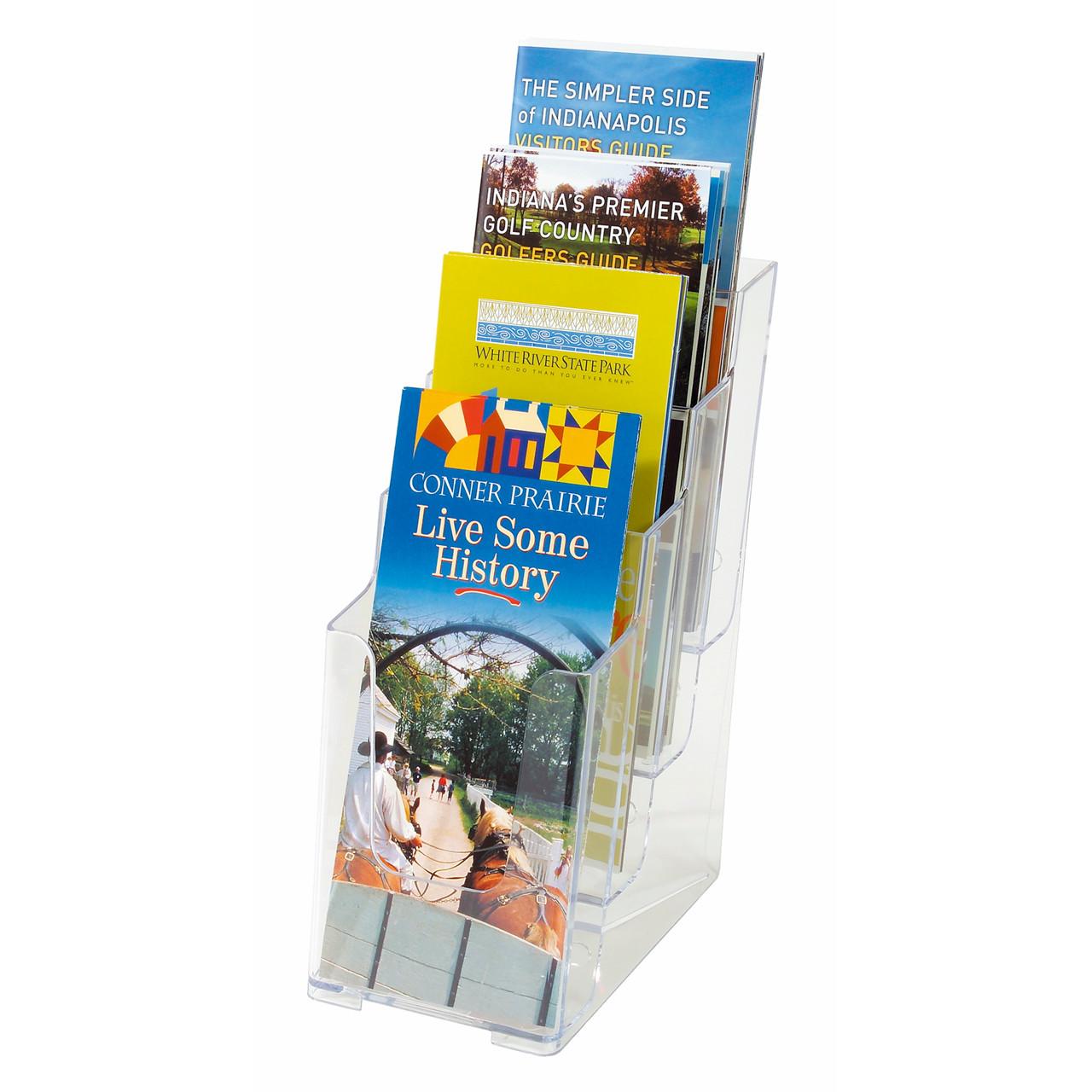 lille brochureholder 1/3 a4 med 4 rum til bord - klar plast office