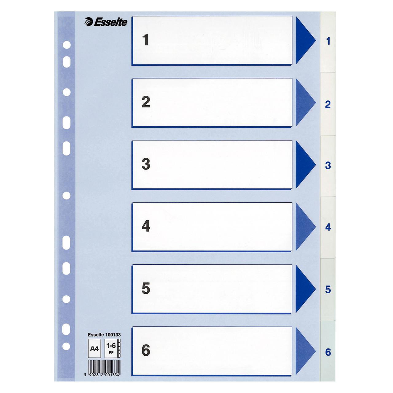 Faneblade Esselte 1-6 A4 - hvide plastfaner med blå forside i karton - Køb  billigt på Grafical.dk 7ba644b9f37f9