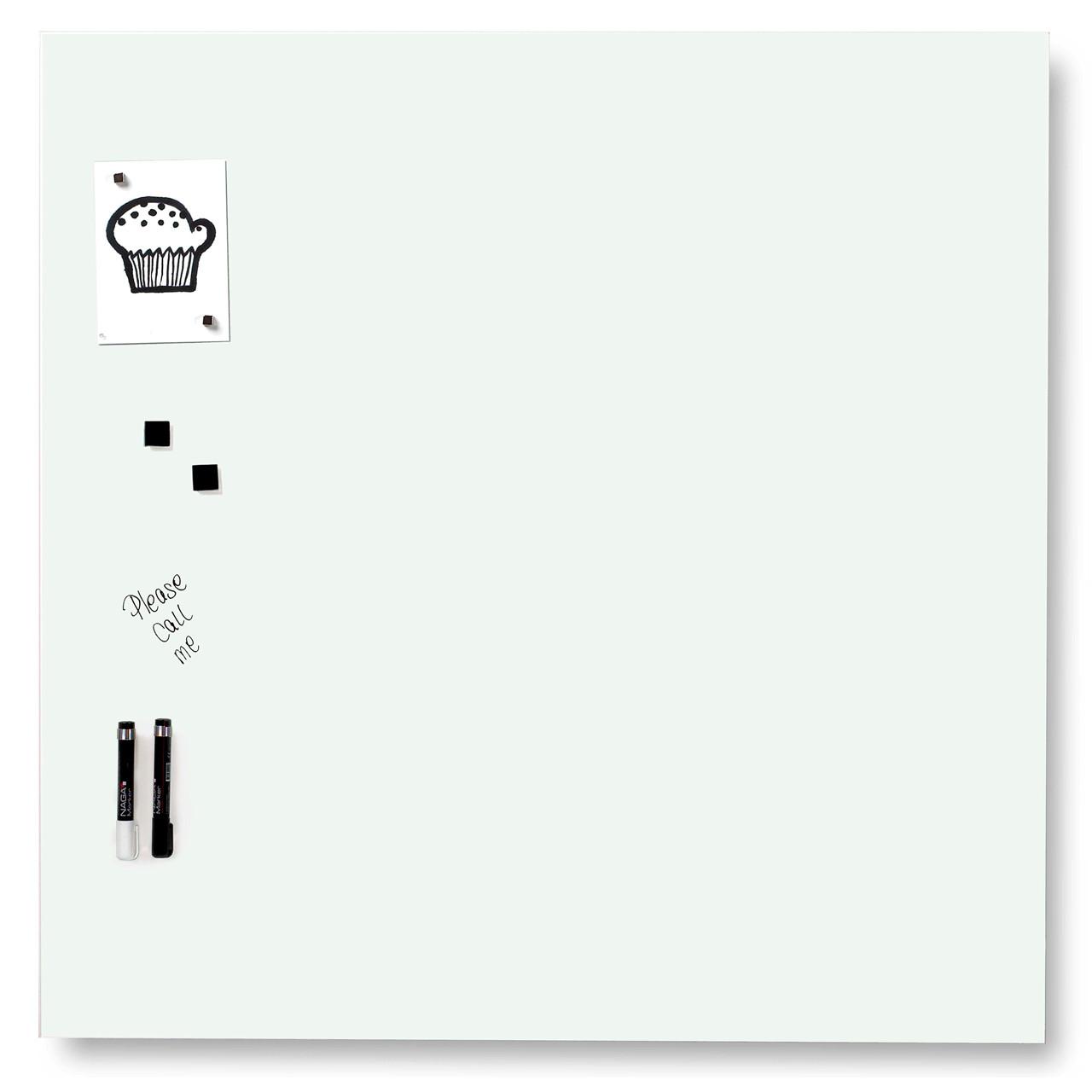 Sidste nye Glas opslagstavle - Naga magnetisk 100 x 100 cm hvid - Køb billigt RH-29