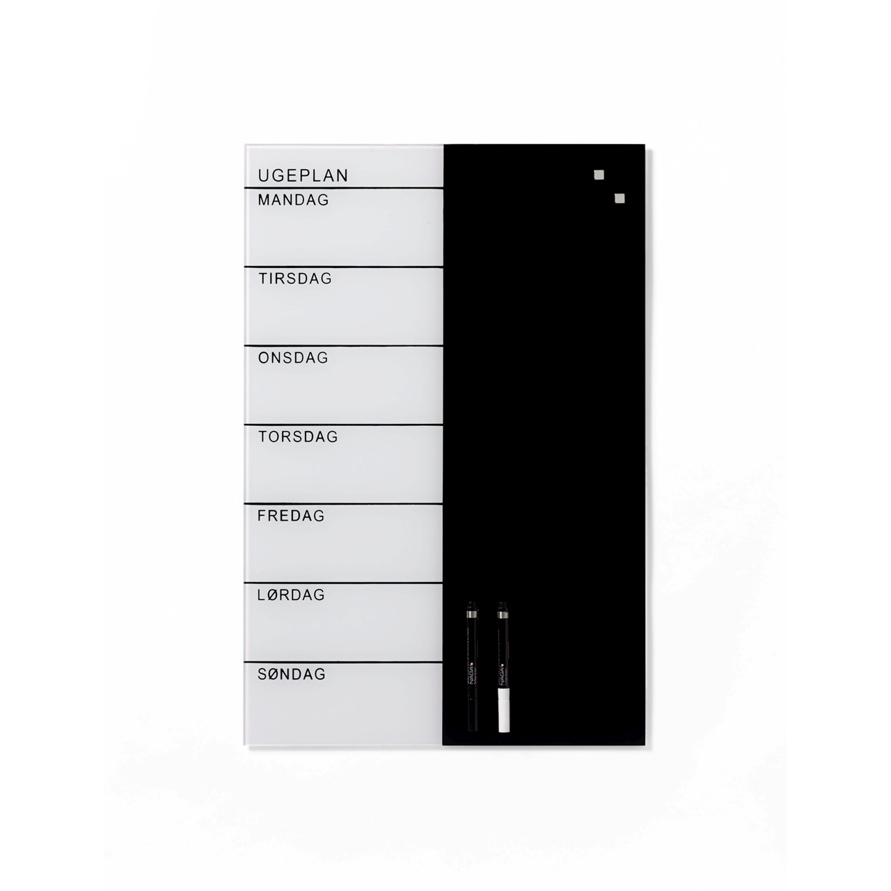 Flot Glastavle Ugeplan - 40 x 60 cm - Magnetisk Naga ugeplanner - Køb AN-04