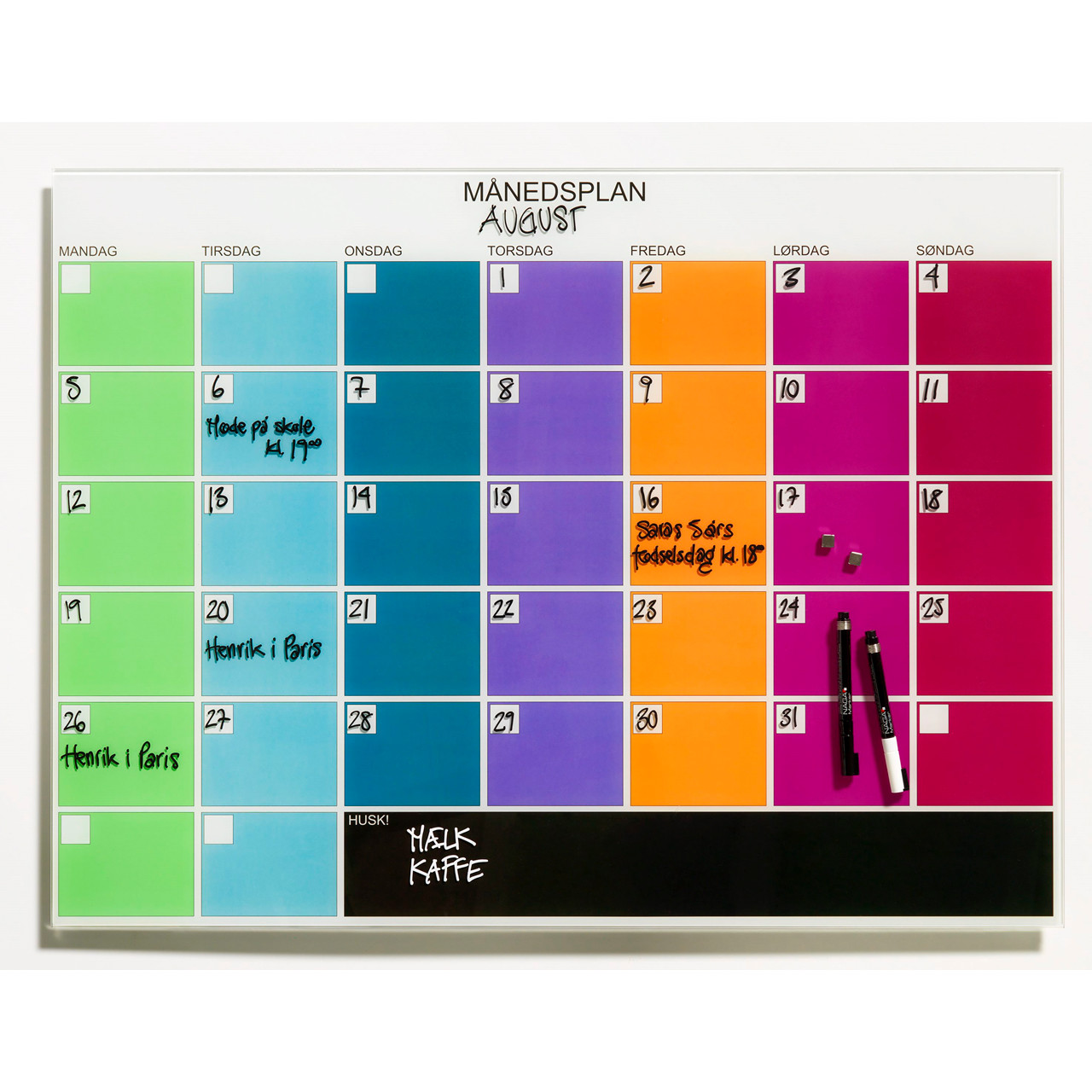 Kendte Naga Månedsplanner - Glastavle magnetisk 80 x 60 cm - Køb billigt IN-78