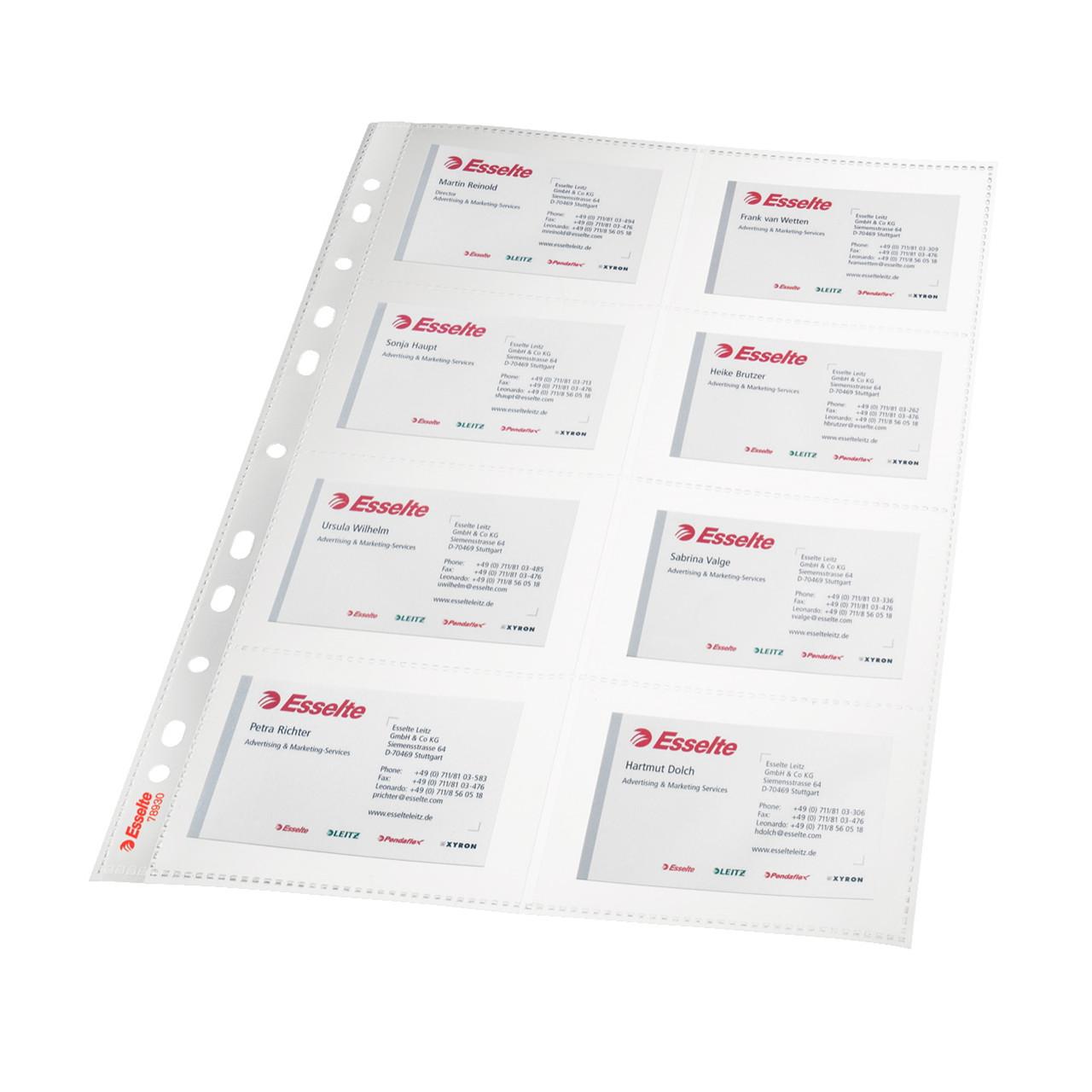 plastlomme til visitkort a4 glasklar til 16 kort 10 stk i pose