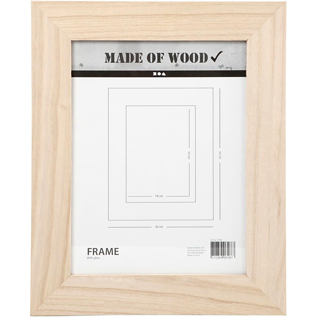 2390916f Ramme med glas størrelse 26 x 32 cm udskæring 18 x 24 cm kejsertræ    firkantet