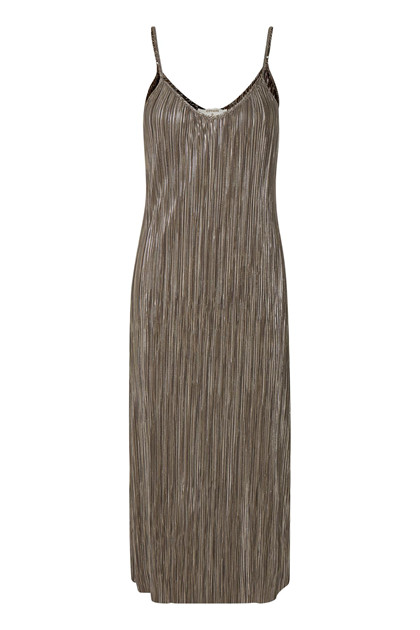 CREAM PLEAT SLIP DRESS 10603539