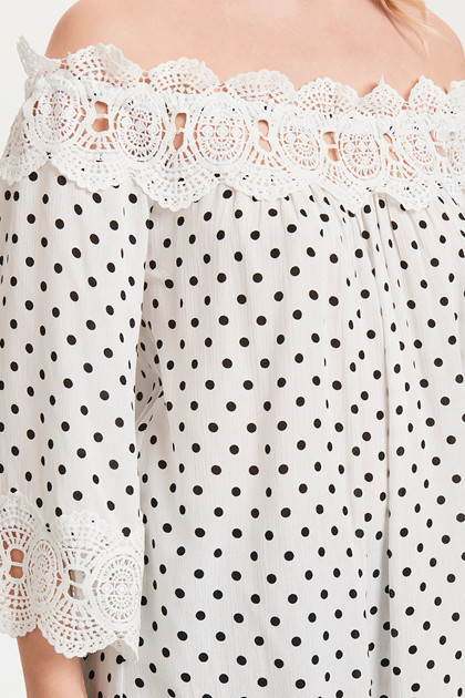 CREAM BEA DOT BLOUSE 10604523